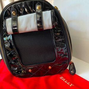 Bally black quilted patent leather dog/pet carrier